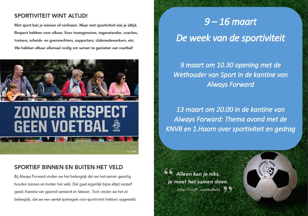 Vandaag start 'De Week van de Sportiviteit'